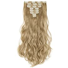 "24"" Long Curly Wavy Ash Blonde Clip in 8 Pieces Full Head Set Hair Extensions 8pcs Hairpiece Extension"