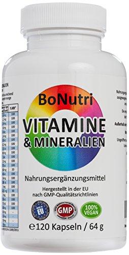 BoNutri 23 Vitamine & Mineralien Mineralstoffe 120 Kapseln Beste Qualität Konzentrat Hochdosiert konzentriert Hohe Tagesdosis 2-Monatsbedarf Vegan Glutenfrei Laktosefrei Rückgaberecht