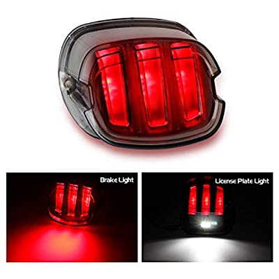 NTHREEAUTO LED Tail Lights, Smoked Low Profile Brake Running Taillight Compatible with Harley Road King, Touring, Street Bob, Dyna, Sportster: Automotive