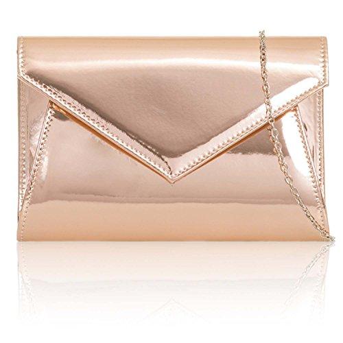 Clutch Xardi Evening Party Patent Metallic London Envelope Leather Medium Bags Champagne Prom Gloss Women Ladies tPqtrz