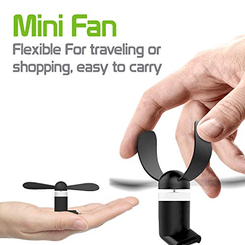Portable Mini Fan Compatible w/Moto G7 Power and Similar Phones with Type-C Micro USB Charging Port by Cell-stuff (Image #4)