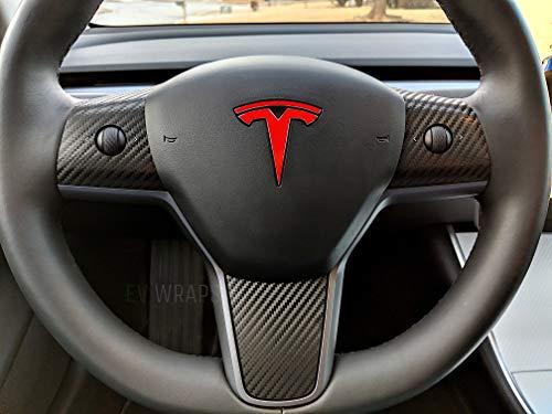 EV Wraps Tesla Model 3 Steering Wheel Cover Wrap - Carbon Fiber