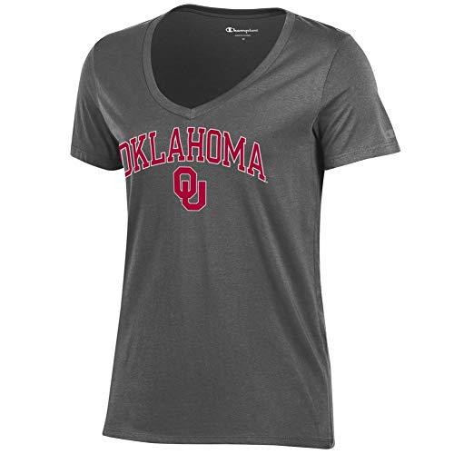 Elite Fan Shop Oklahoma Sooners Womens Vneck Tshirt Charcoal - S (T-shirt Ladies Oklahoma)