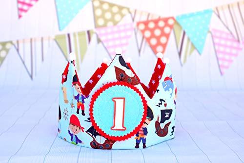 Corona cumpleaños piratas niño, regalo primer cumpleaños ...