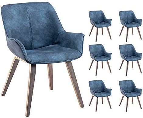 YEEFY Blue PU Leather and Wood Oak Living Room Chairs Upholstered Accent Chairs Set of 6 Blue