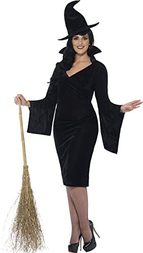 Girls Witch Costume Uk (Smiffy's Women's Witch Costume, Dress and Hat, Legends of Evil, Halloween, Plus Size 22-24,)
