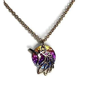 Handmade 24″ Gold Tone Unicorn Pendant Necklace on Rainbow Niobium