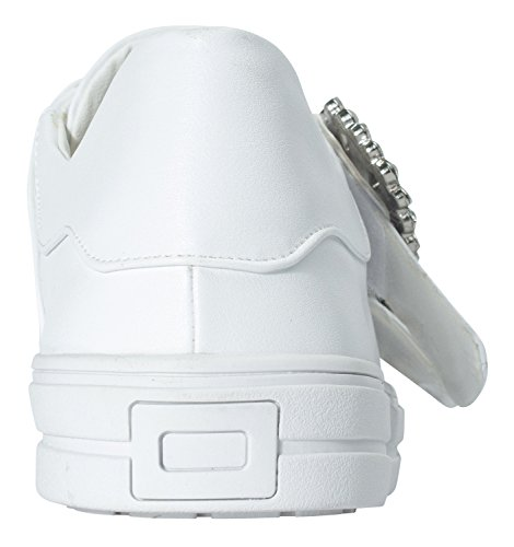 Annakastle Veganistisch Lederen Two Strap Casual Sneaker Met Kristalgesp Wit