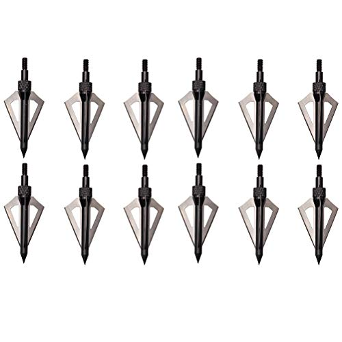 FlyArchery 100 Grain 3 Blade Broadheads Hunting Boradheads Screw-in Arrow Heads Arrow Tips Compatible with Crossbow and Compound Bow (Black)