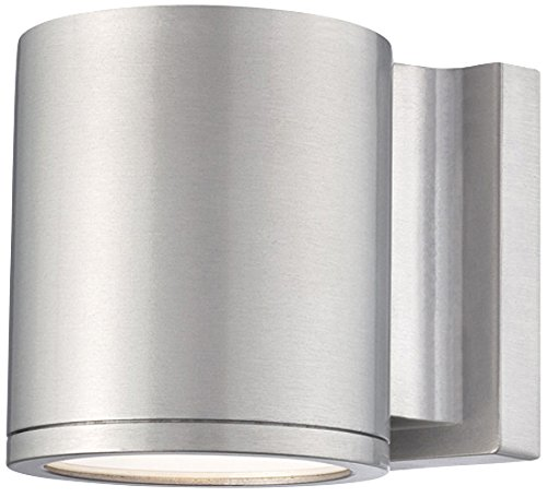 WAC Lighting WS-W2605-AL Tube LED Outdoor Wall Light Fixture, Dark Sky Friendly Single Light, 3000K, Brushed Aluminum