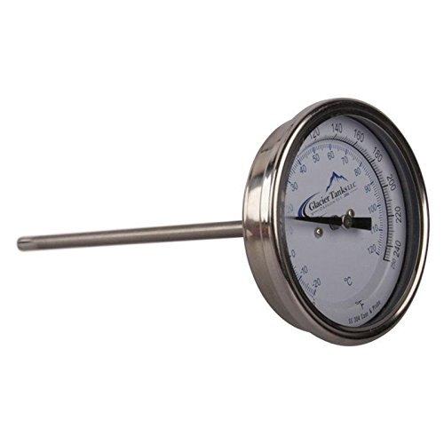 Stainless Steel Jacketed Tank - Thermometer | Rear Mount 0-250 Degree x 6 inch - Stainless Steel SS304 - Glacier Tanks