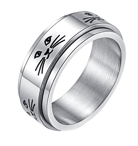 ALEXTINA Men's Women's Stress Relief Stainless Steel 8MM Spinner Ring Animal Cat Band Size 11