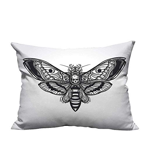 YouXianHome Sofa Waist Cushion Cover Dead Moth Skull Face Gothic Grunge Style Dark Butterfly ner Self Decorative for Kids Adults(Double-Sided Printing) 31.5x31.5 inch