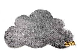 Baby Nursery Area Rug / Cloud Shaped Faux Fur Accent Throw / Sheepskin Shag (2\'x3\', Silver Gray)