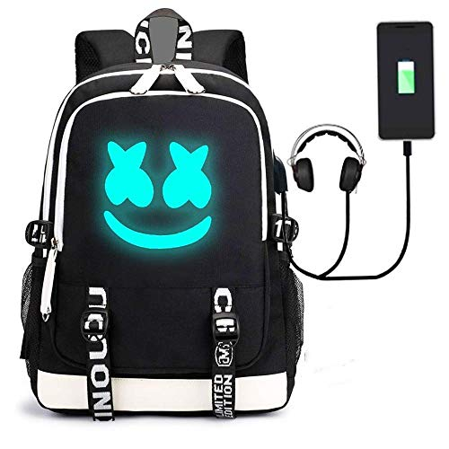 Little Luxuries Marshmallow - Anti Theft Luminous Laptop Backpack with USB Charging Port, Unisex Backpack College School Travel Backpack Daypack (C)