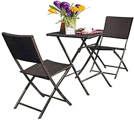 Wondrous Grand Patio Rattan Patio Set Outdoor Table Sets With Rust Proof Steel Frames 3 Piece Weather Resistant Parma Set Of Foldable Garden Table And Chairs Home Remodeling Inspirations Cosmcuboardxyz