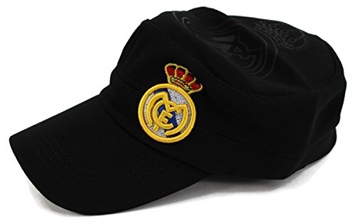 High End Hats World Soccer/Football Team Military Hat Collection Embroidered Flexfit Army Style Cap, Real Madrid Club de Futbol, Black