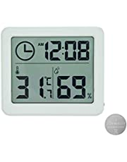 Digital Indoor Hygrometer Thermometer with Time Display, Accurate Temperature Humidity Monitor Meter for Home, Office, Nursing Room, Greenhouse, Warehouse and More