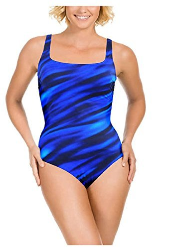Kirkland Signature By Miraclesuit Womens 1 Piece All Over Body Control Swimsuit  12  Blue Wavy Navy