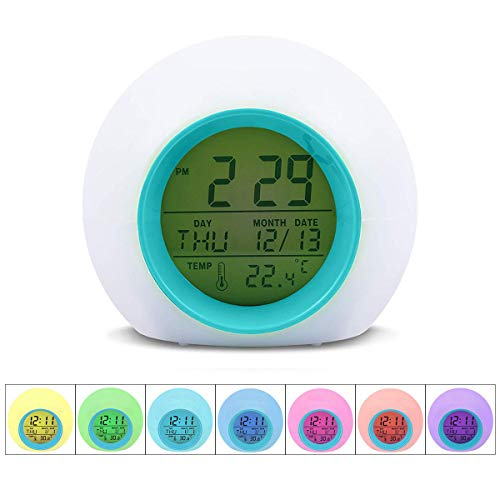 GAQINTONN Kids Alarm Clock,Wake Up Digital Clock for Kids,7 Colors Changing Night Light Bedside Clock for Boys Girls Bedroom,with Temperature Calendar,Touch Control and Snoozing(Without Battery)