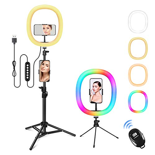 Nuevo, Zacro 12″ Anillo de luz, Aro de Luz LED con 1.6 m Regulables Trípode y Control Remoto, RGB 10 Colores y 16 Modos Soporte de Luz para Maquillaje,Youtube,Selfie,Tiktok,Vlog,Transmisión en Vivo