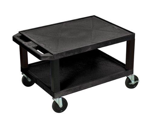 Luxor 16''H Multipurpose AV Utility Cart with 2 Shelves and Ergonomic Push Handle Black by H Wilson
