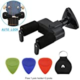 Guitar Hanger Safe Auto Lock Wall Mount Holder for Classical, Electric, Acoustic, Guitar Bass Hanger with 3 Picks and 1 Pick Holder