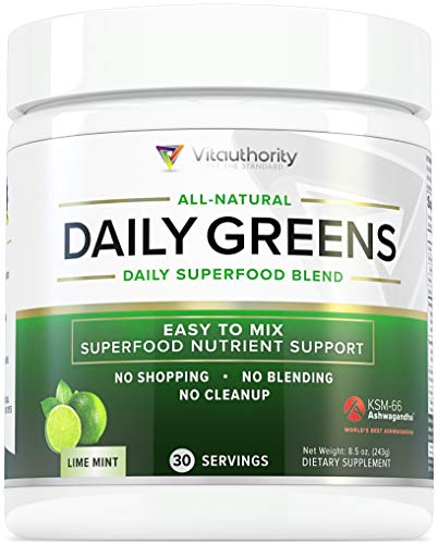 Daily Greens Superfood Powder: Best Tasting Greens Detox Powder with Spirulina, Matcha Green Tea, Barley Grass Juice Powder | Turmeric and Coconut Water Powder | Vegan, Non-GMO, Lime Mint, 30 SRV