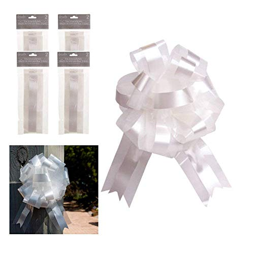 White Ribbon and Tulle Bows, 9 Inch, Set of 8