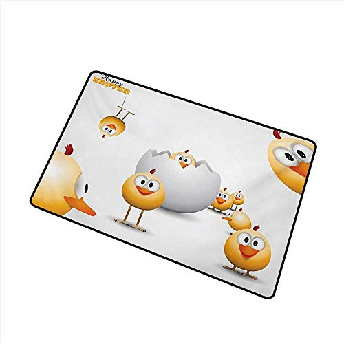 duommhome Front Door Mat Large Outdoor Indoor Easter Happy Chicks Emerging Out of a Cracked Egg Funny Cartoon Style Animals W16 xL20 Personality ()