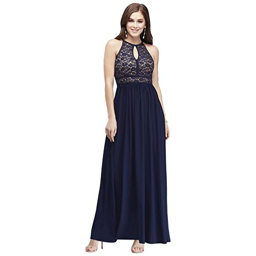 Lace Keyhole Tie Back Halter Dress Style 12089, Navy, 4