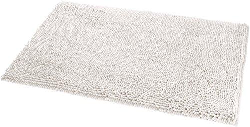 AmazonBasics - Alfombrilla de baño, antideslizante, de microfibra, 0,53 x 0,86 m, Blanco