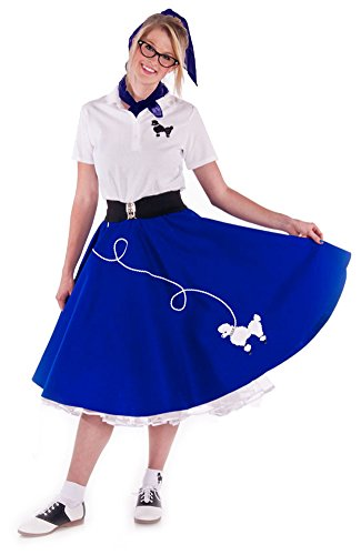 [Hip Hop 50s Shop Adult 7 Piece Poodle Skirt Costume Set Royal Blue Large] (Poodle Skirt Set)