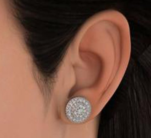 Or blanc 14 K 1.366 CT TW Round-cut-diamond (IJ | SI) Boucles d'oreille à tige