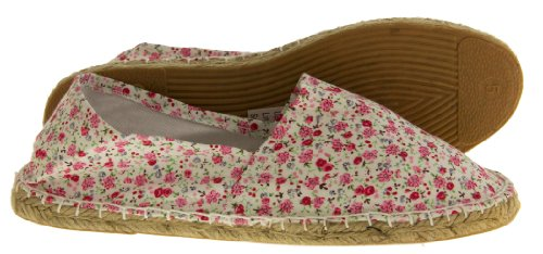 Footwear Studio Womens Canvas Espadrille Summer Shoes White Floral xcBoDo