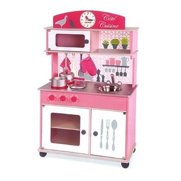 cuisine en bois jouet rose