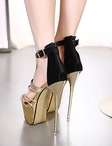 LFNLYX Zapatos de mujer-Tacón Stiletto-Tacones / Plataforma / Punta Abierta-Sandalias-Vestido / Fiesta y Noche-Vellón-Oro golden
