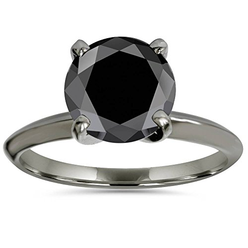 - 3ct Black Diamond Solitaire Engagement Ring 14K Black Gold - Size 7