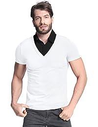 Men's Casual Laple Short Sleeve Button Neck Slim Fit Tops Tee Shirts
