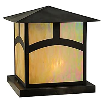 "Meyda Tiffany 126520 24"" Square Seneca Hill Top Pier Mount Outdoor Light Fixture, Custom"
