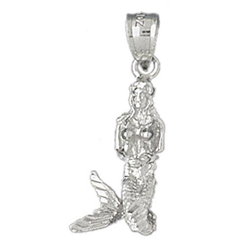 14k White Gold 3-D Mermaid Pendant (10 x 25 mm) by K&C