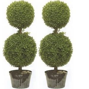 Silk Tree Warehouse Two 34 Inch Outdoor Artificial Boxwood Double Ball Topiary Trees Uv Rated Potted Plants 109