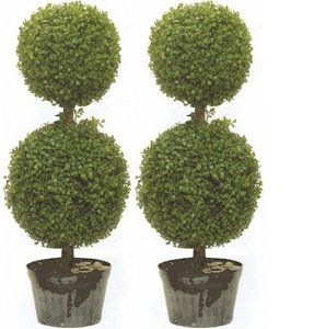 Two 34 Inch Outdoor Artificial Boxwood Double Ball Topiary Trees Uv Rated Potted Plants
