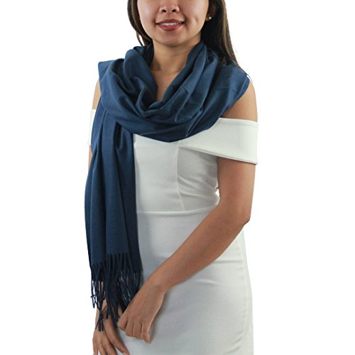 Navy Blue 100% Cashmere Scarf - Gift Box, Large Size, Removable Tag, Limited Availability
