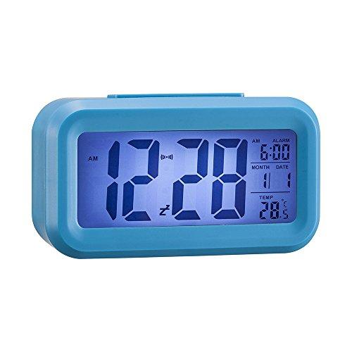 "Anmire Progressively Louder Wakey Digital Alarm Clock, Silent with Sensor Light + Night Light Repeating Snooze Date Temperature 5.4 "" Large LCD Display (Blue)"
