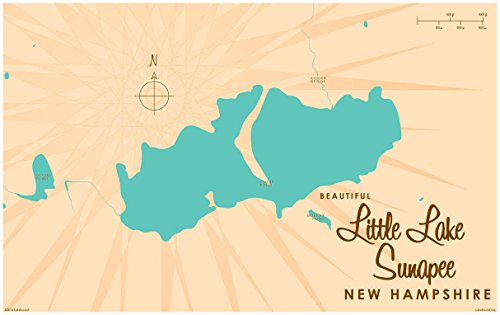 Little Lake Sunapee New Hampshire Map Vintage-Style Art Print by Lakebound (30