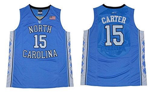CRISGIORD 2016 Men's North Carolina Tar Heels Basketball Jersey NO.15 Vince Carter Jersey Blue L