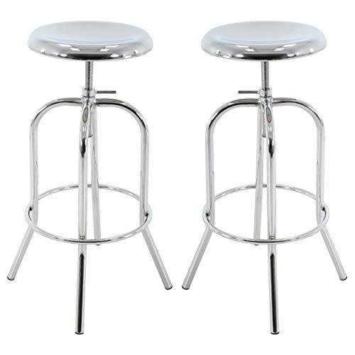 - Brage Living Chrome Color Round Seat Adjustable Metal Barstool (Set of 2)