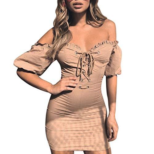Keliay Bargain Women's Sexy Tube Top Short Sleeve Party Bag Hip Short Dress (Mini Monograms Hip)