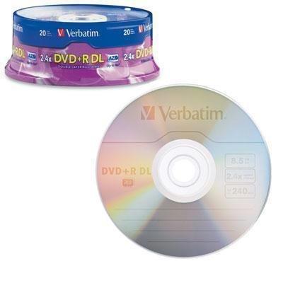 95310 - Verbatim 8x DVDR Double Layer Media 8.50 GB - 120mm Standard - 20 Pack Spindle by Verbatim